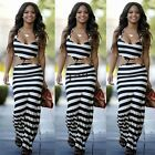 Sexy Women Boho Striped Long Maxi Evening Party Dress Beach Dresses Sundress