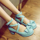 Ladies Girls Chunky Heel Bowknot Lolita Sweet candy Mary janes Cross Strap Shoes