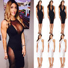 New Sexy Women Halter Bandage V-Neck Lace Mesh See Through Bodycon Dress
