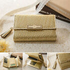 Women's Genuine leather medium size trifold gold wallet with coin zipper pocket
