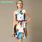 Fashion Slim Summer Sleeveless Women Mini Dress Geometric Printing Vest Dress