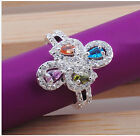 Noble Jewelry Fashion 925 silver Multicolor zircon  wedding rings for women