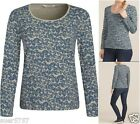 Seasalt Ladies Tianna Foliage Hessian Jersey Casual Long Sleeve Top Size 8 - 20
