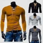 Suede Splicing V collar Men lace up round neck long sleeved solid muscle shirts