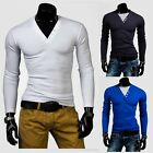 Men V Neck Long Sleeve T-Shirt Slim Fit Casual Solid White Basic Tee Tops Shirts
