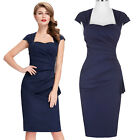 Navy Blue Womens Pencil Wiggle Sheath Cocktail Party Evening Dress 4 8 12 14 16+
