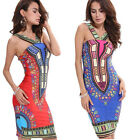Women Traditional African Print V-neck Dashiki Bodycon Sexy Sleeveless Dress New