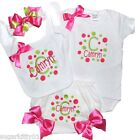 Personalized Baby Girl White Onezee,Bib, Bloomer, HB & Bow Pink & Lime Free Shp