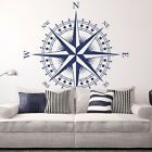 "Compass Rose ""the Patriot"" Vinyl Wall/ceiling Decal - Nautical Room Sticker K625"