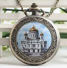 antique Steampunk Savior Cathedral Pocket Watch Necklace Classic pocket watch