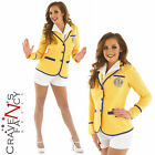Adult Sexy Hi De Hi Female 80s Yellow Coat Shorts Costume Fancy Dress 8 - 22