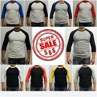 New 3/4 Sleeve Raglan Baseball Men's Plain T-Shirts Soft 30 Single Yarn SLIM FIT