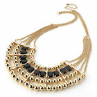 FASHION STATEMENT NECKLACE CHOKER GOLD COLOUR BEADS IN VARIOUS STYLES
