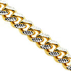 "Yellow Gold Sterling Silver Miami Cuban Diamond Cut Link Mens Chain 7 mm 28"" 32"""