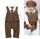 Baby Boy Brown Formal Suit & Tie , Wedding Christening Special Occasion 3-24M