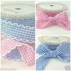 Scallop edge fabric gingham ribbon 25mm wide per metre for sewing/ craft