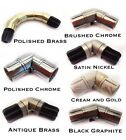 28mm Single Corner Bay Window Curtain Pole Elbow Joint Connector 7 Colours