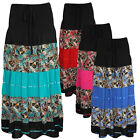 Ladies Womens Cotton Summer Skirt Patchwork Ribbon Tiered Floral Printed Skirt