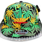 Rasta Kush Cannabis Weed Leaf Flat Peak Snapback Cap Hip Is Hop Money Time Hat