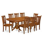 NAPO9-SBR 9 Piece dining room set-Table with a Leaf & 8 chairs for dining