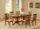 NAPO7-SBR 7 Piece dining room set Table with a Leaf and 6 chairs for dining