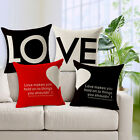 "Love Heart Words 18""x45cm Decor Cotton Linen Cushion cover Pillowcase"
