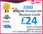 1000 Business Cards / 400gsm Premium Silk Artboard / FREE DELIVERY