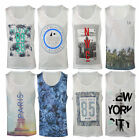 Mens Summer Print  Muscle Vest Sleeveless T Shirt Gym Top XS-XXL
