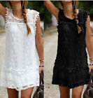 Women Casual White Black Lace Loose Straight Sundress Above Knee Mini Dress YTS