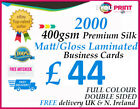 2000 Business Cards - 400gsm Premium Silk Artboard - DOUBLE SIDED