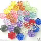 CLEAR FLOWER BUTTONS 12 colours 15mm diameter 2 holes per 10 buttons