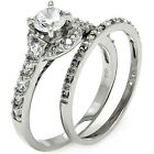 Sterling Silver Solitaire  Round Clear CZ 2in1 Wedding Set Band Ring Size 3-11