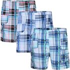 Kids Short Checked Shorts Kids Lightweight Multipocket Cargo Bottoms 3-14 Years