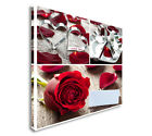 Collage With Roses, Hearts And Table Setting Canvas Wall Art prints high quality
