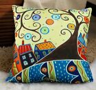 Swirl Tree Town VELVET PILLOW COVER FOLK ART Abstract Prim Various Sizes KARLA G