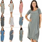 Womens Italian Lagenlook Short Sleeve Striped Pocket Ladies Midi Dress Plus Size