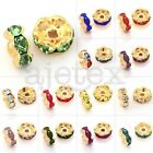 100pcs 5/6/8/10/12mm Crystal Beads Round Gold Plated Wavy DIY Jewelry