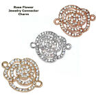 Beautiful Rose Flower Paved Crystal Alloy Bracelet connector Charm Plated 8pcs