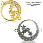 Crescent Moon Stars Paved Crystal Cooper Bracelet connector Charm Plated 8pcs