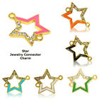 Outlined Star Five Ray Paved Crystal Cooper Bracelet connector Charm Plated 8pcs
