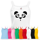Ladies Cute Panda Face Vest - Funny Cute Bear Animal Lover New Strap Top