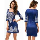 Fashion Womens Print Short Sleeve Bodycone Casual Evening Cocktail Mini Dress