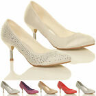 WOMENS LADIES MID KITTEN HEEL WEDDING BRIDESMAID PROM DIAMANTE COURT SHOES SIZE