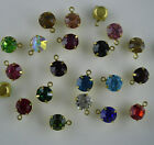 round 8mm glass crystal faceted jewelry making rhinestone gold cup connector sew