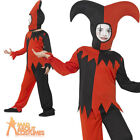 Child Twisted Jester Costume Boys Harlequin Clown Halloween Fancy Dress Outfit