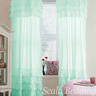 800 TC Top & Bottom Ruffle Curtains 2-Panel Top Rod Pocket Choose Color & Size