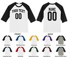 Custom Your Text, Name & Number Youth Raglan Baseball T-shirt, Arched Text 0001