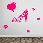 I Love Shoes Lips Girl New Girls Lady Shoe Wall Art Stickers Decals Hearts A381