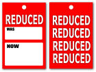 Reduced was now Red swing tags tickets for clothing retailers double sided