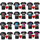 ALL Style COUPLE T-SHIRT Super Cute Matching Beauty Love Funny S-XL Black Tee